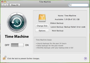 Time Machine actual GUI