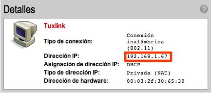 Dirección del computador con Ubuntu