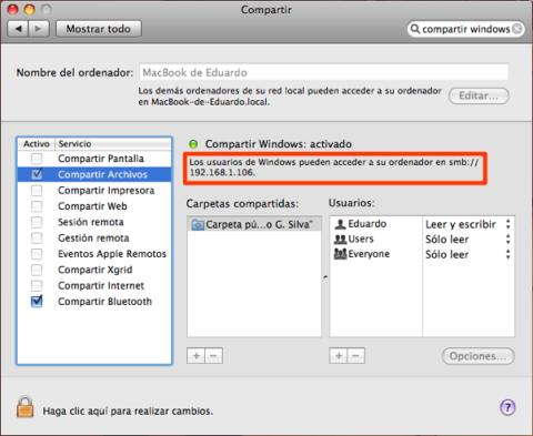 Dirección para conectarse a tu Mac.