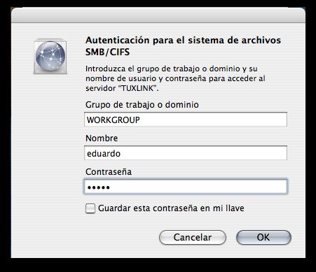 Autentica la conexión con los datos que proporcionaste a Samba