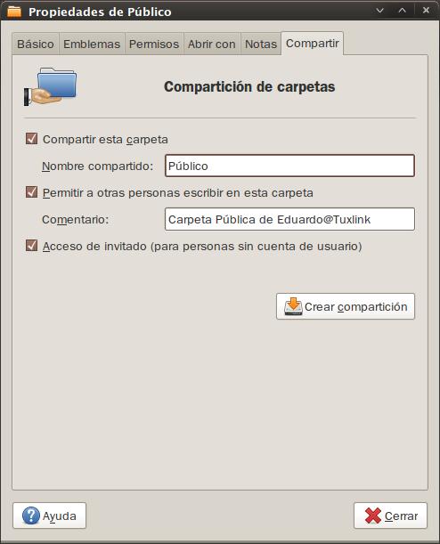 Click en crear compartición, y permite a Nautilus añadir los permisos necesarios