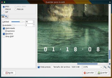 Guardar para Web - GIMP