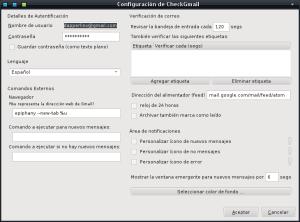 Configuración CheckGmail
