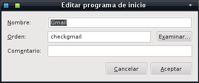 Lanzador de CheckGmail para el inicio del sistema