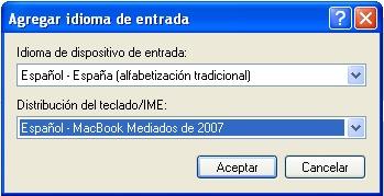 Seleccionar Español - MacBook mediados de 2007